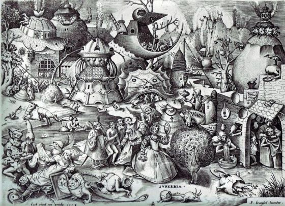 Bruegel the Elder, Pieter: The Seven Deadly Sins - Pride. Fine Art Print/Poster. Sizes: A4/A3/A2/A1 (00874)